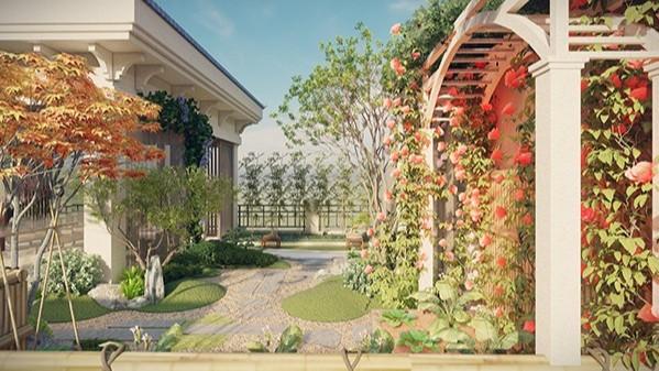 广东惠州·湖畔新城某屋顶花园别墅景观设计